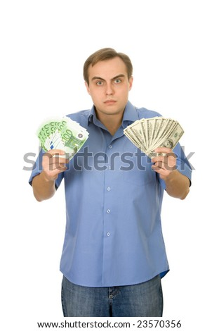 Young handsome man with money. Isolated on white.