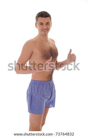 young handsome optimistic male in underwear