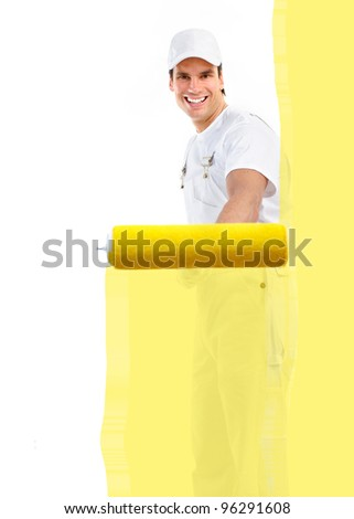 Young handsome painter worker. Isolated over white background