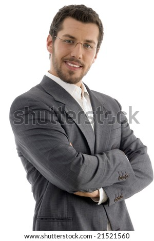 young handsome professional on an isolated white background