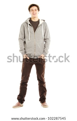 Young handsome smiling man with hip style against white background