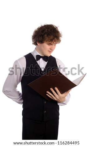 young handsome waiter with menu, isolated on white