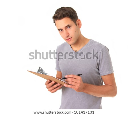 Young handy man with clipboard, studio isolated on white.