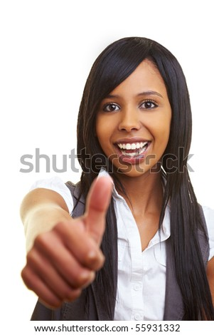 Young happy african woman showing her thumb up