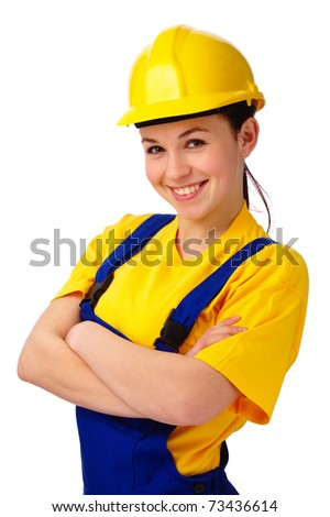 Young happy attractive woman in construction uniform, isolated over white - stock photo