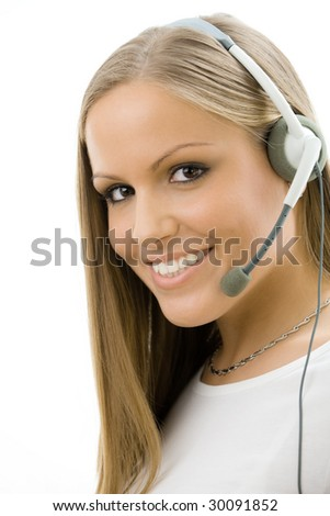 Young happy beautiful customer service operator girl in headset, smiling, isolated on white background.