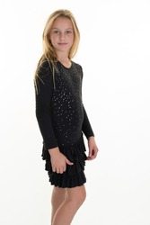 Young happy blond girl posing in black dress