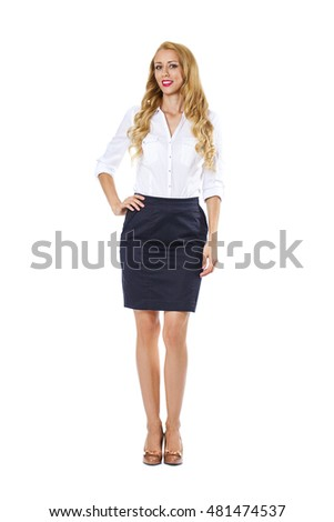 a7f122e77c2e Young happy blonde woman in black skirt and white blouse, isolated on white  background #