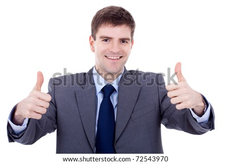 Young happy business man going thumbs up, isolated on white