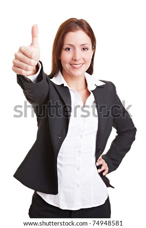 Young happy business woman holding their thumbs up