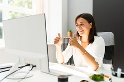 Young Happy Business Woman In Video Conferencing Call
