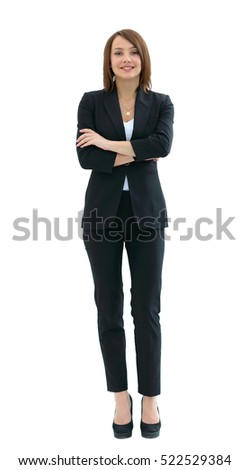 Young happy business woman, isolated on white