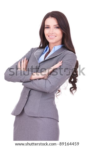 Young happy business woman isolated over white background - stock photo