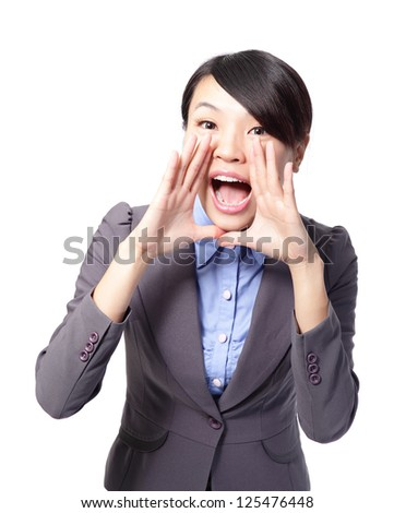 young happy business woman shout and scream using her hands as tube in full length isolated over a white background, asian beauty model