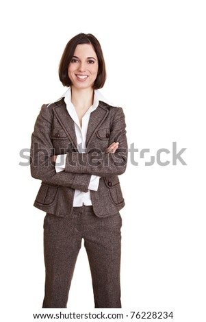 Young happy business woman with her arms crossed