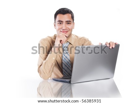 Young happy businessman with laptop, isolated on white