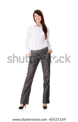 Young happy businesswoman isolated on white