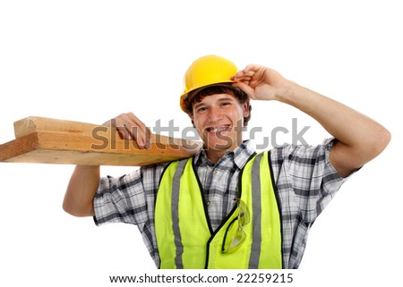 Young Happy Carpenter Holding Building Materials on Isolated Background