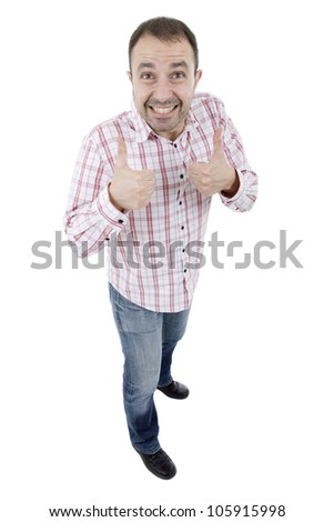 young happy casual man, full body, going thumb up, isolated