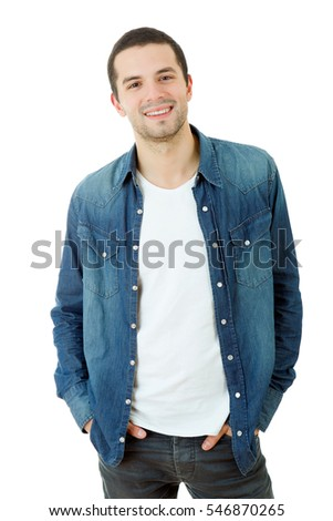 young happy casual man portrait, isolated on white #546870265