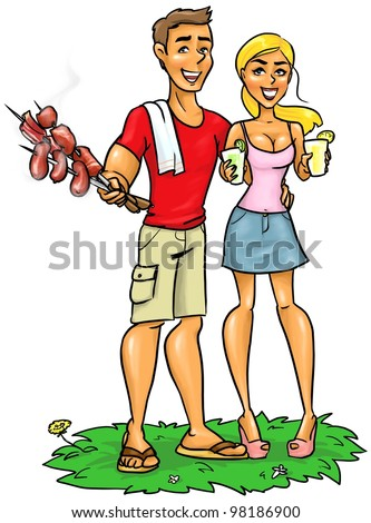 Young happy couple with BBQ food and drinks, bbq party invitation, beach party, grill party
