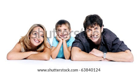 young happy family with child posing on white background