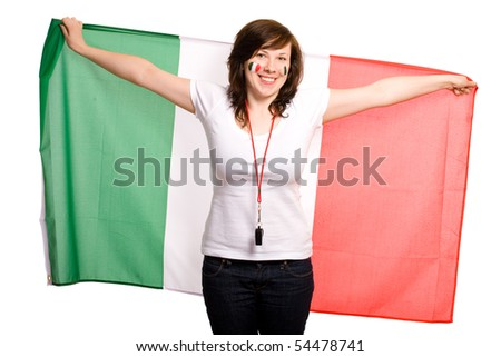 young happy female supporter of italian team, isolated on white, she also has her cheeks painted with italian flags