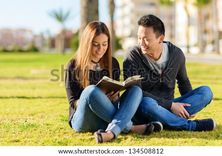 Young Happy Friends Studying In Park