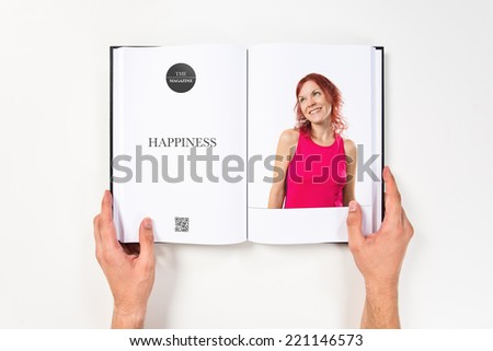 Young happy girl printed on book #221146573