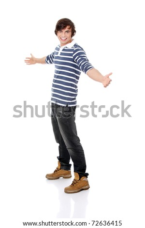 Young happy handsome man,isolated on a white background