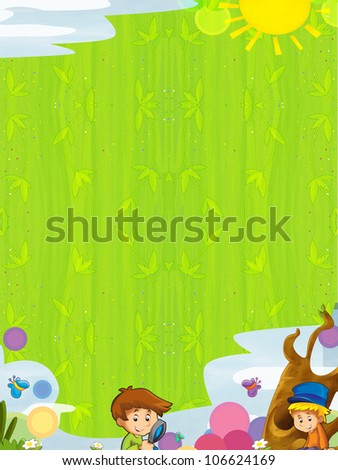 Young happy kids - kindergarten - menu - space for text 7