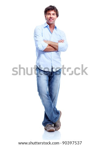 Young happy man. Isolated over white background. #90397537