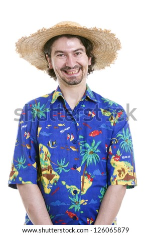 young happy man with a hawaiian shirt on white background