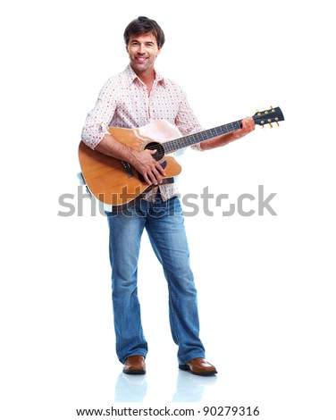 Young happy man with guitar. Isolated over white background. - stock photo