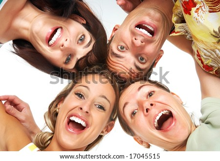 Young happy  people. Isolated over white background
