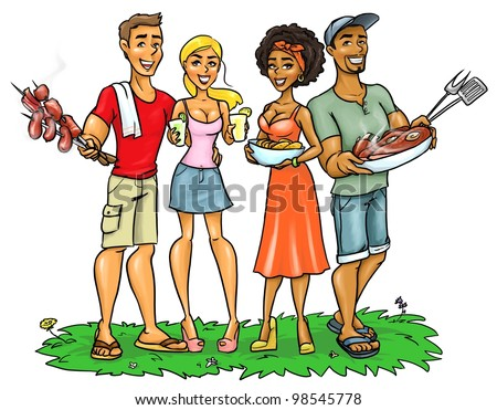 Young happy people with BBQ food and drinks, isolated on white