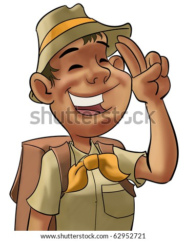 young happy scout doing a hand sign