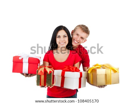 Young happy smile couple, hold many gift box presents, looking at camera, isolated over white background