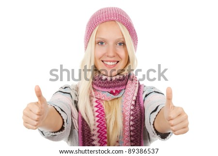 young happy smile teenage girl holding two hands with thumb up gesture,  wear winter knitted pink hat scarf and sweater, isolated over white background