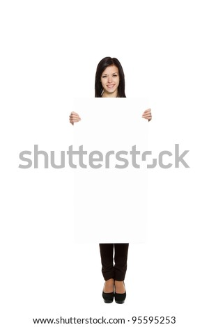 young happy smile woman standing hold blank board, attractive girl wear green shirt, full length, isolated over white background, studio shoot