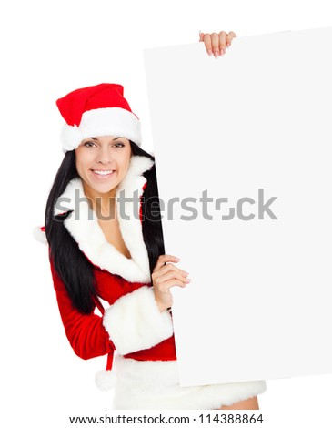 young happy smile woman wear Santa Clause costume hold blank board, attractive christmas new year party girl happy smile, isolated over white background