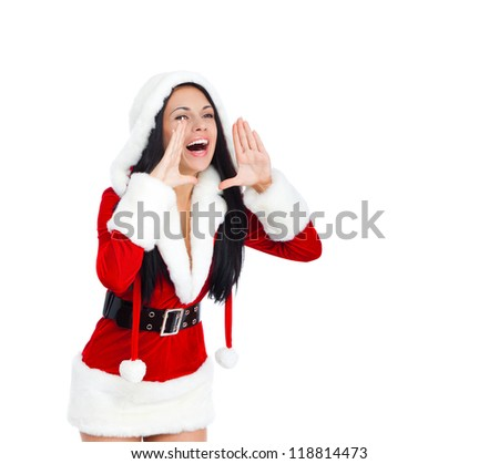 young happy smile woman wear santa clause costume loud screaming, calling out to someone, attractive christmas new year party girl looking at camera hold hand open palm, isolated over white background