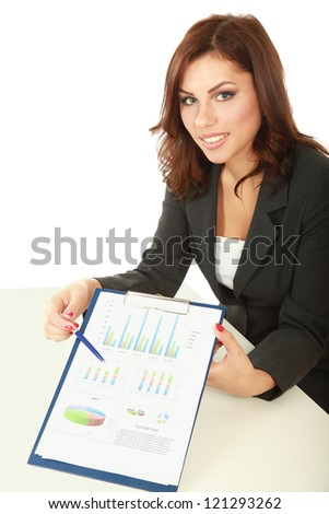 Young happy smiling business woman with folder, isolated on white background