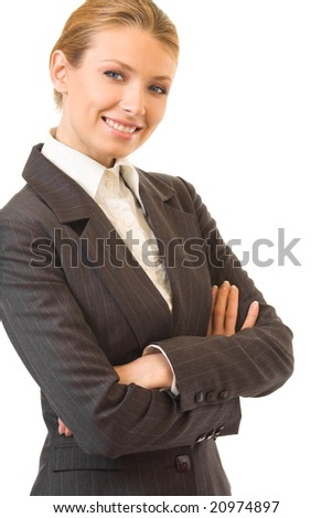 Young happy smiling businesswoman, isolated on white