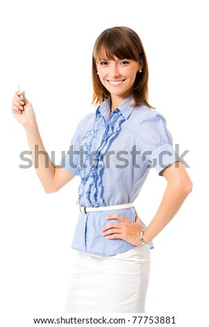 Young happy smiling showing business woman, isolated on white background