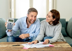Young happy woman feeling excited about saccessful accounting home finance in savings domestic and business accountant paying bills and free of debt concept