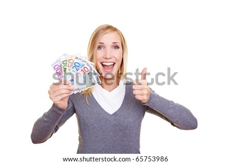 Young happy woman holding Euro money fan and her thumb up - stock photo