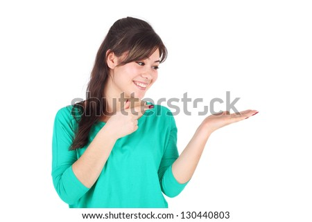 young happy woman holding her hand palm up