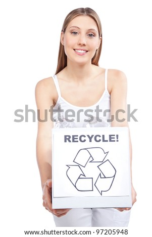 Young happy woman holding recycling waste box.