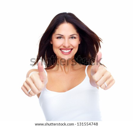 Young happy woman. Isolated on white background.